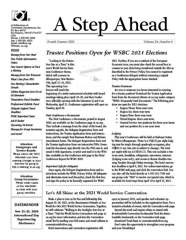 A step ahead oa newsletter for professionals